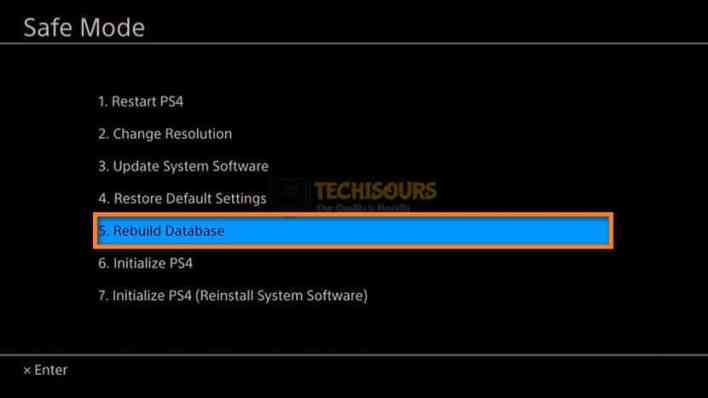 Rebuild database to get rid of ps4 error code np-36006-5