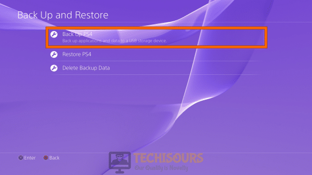 Backup PS4 to fix CE-34788-0 error