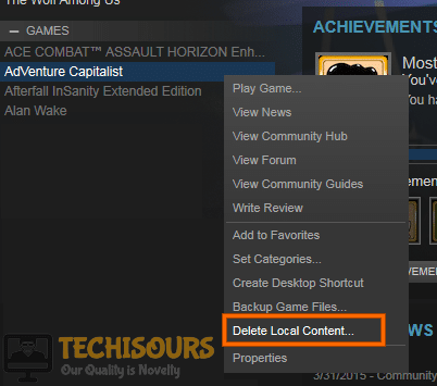 Delete Local Content to get rid of steam thinks game is running problem