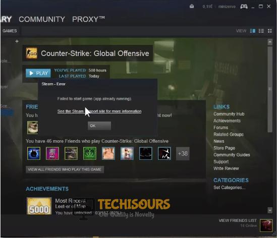 steam thinks game is running error display