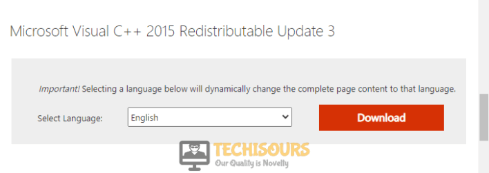 Download Microsoft Visual C++ 2015 Redistributable