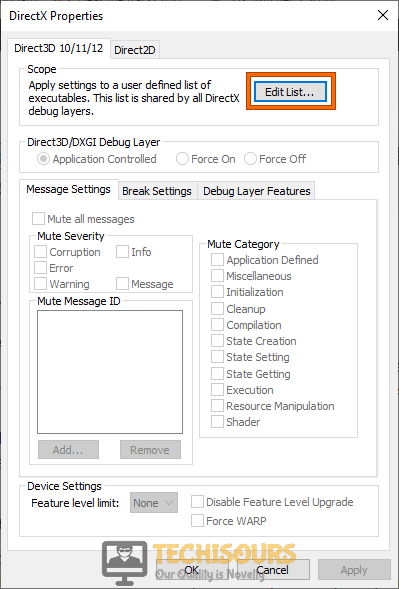 Click on Edit List option
