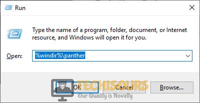 "Typing in ""%windir%\panther"""