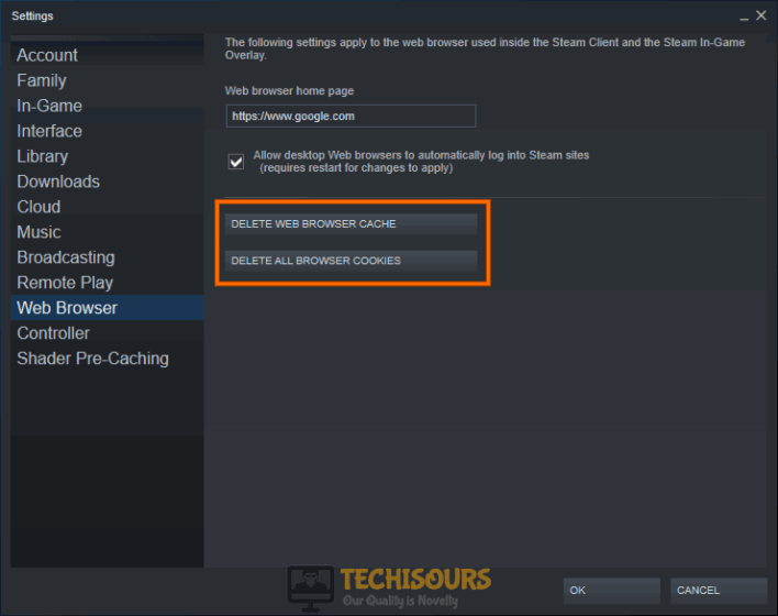Clear Steam's browser cookie and cache