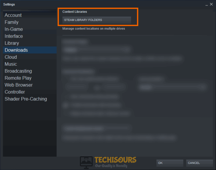 Choose Steam library folder to fix steam takes forever to open problem