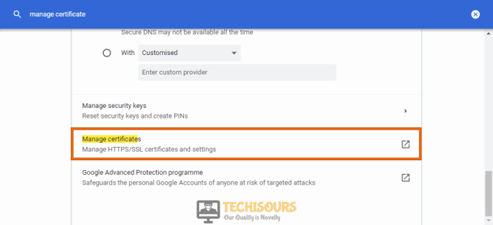Manage Certificate