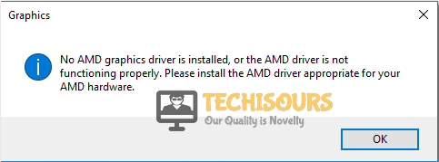 no amd graphics driver is installed error