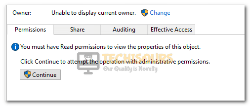 unable to display current owner error