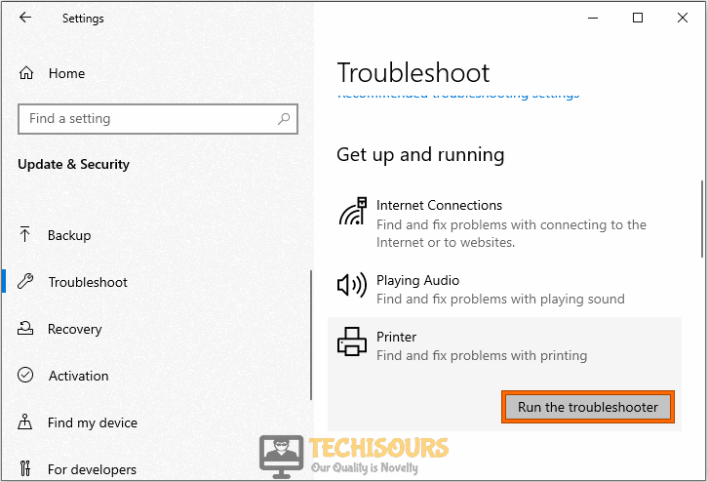 Run the troubleshooter to resolve printer needs user intervention problem