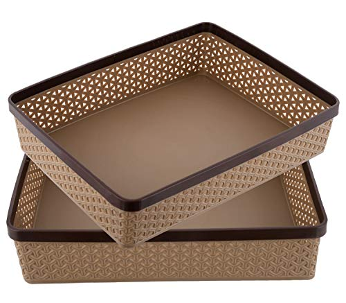 Kuber Industries Plastic 2 Pieces Solitaire Stationary Office Tray, File Tray, Document Tray, Paper Tray A4 Documents/Papers/Letters/folders Holder Desk Organizer (Coffee)- CTKTC043765   Socially Keeda