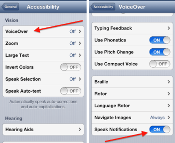 how to activate voice over and make siri read out notifications