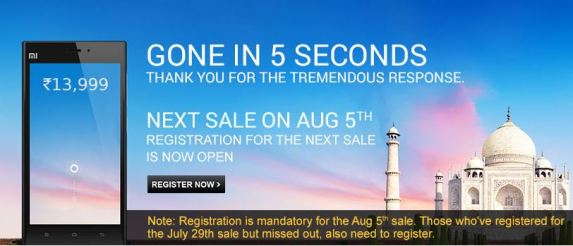 Register for August 5th sale of xiaomi mi 3 in flipkart