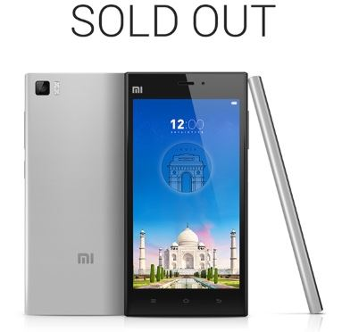 Xiaomi mi 3 released and sold out in flipkart