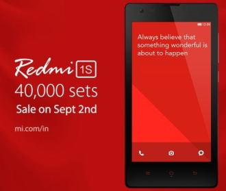 Xiaomi Redmi 1S with 40000 units on sale from 2nd september on Flipkart