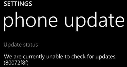 How to solve or fix Error 80072f8f in windows phone update