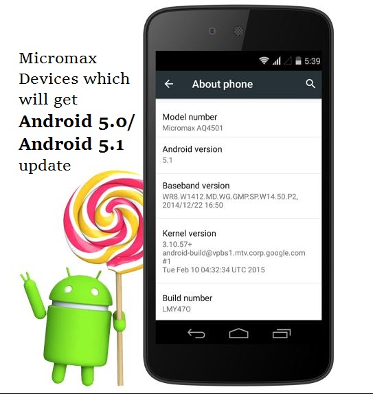 Android 5 0 and 5 1 Lollipop update for Micromax Phones