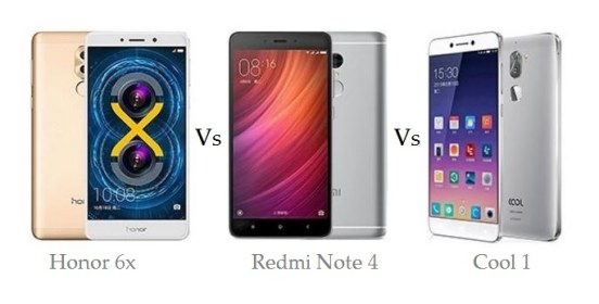 Xiaomi Redmi Note 4 vs Cool 1 Dual vs Honor 6x comparison and differences