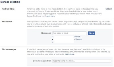 How to Add facebook users to Blocked list in Facebook Messenger