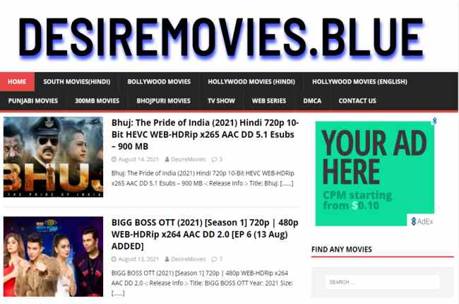 Desiremovies 2021 – Download latest Bollywood, Hollywood Movies Free