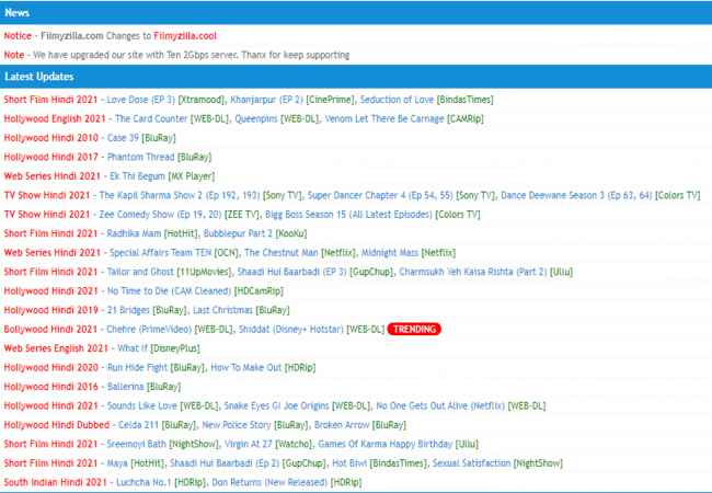 Filmyzilla 2021 – Download Bollywood, Hollywood, Hindi Dubbed Movies