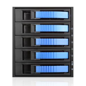 "iSTARUSA 3x 5.25"" to 5x 3.5""/2.5"" SAS/SATA 6G Hot-swap Rack Blue"