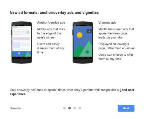 anchor / overlay ads and vignettes