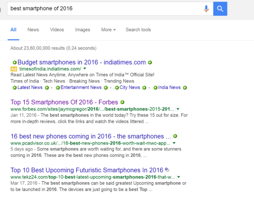 search results for best smartphone of 2016 in Google
