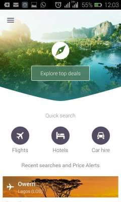Skyscanner App Review - Home