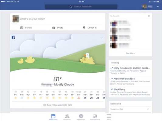 Facebook's weather forecast feature