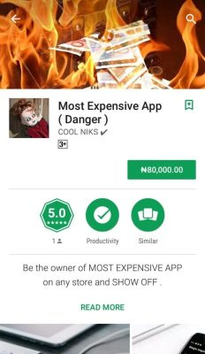 Most Expensive App on Google Play Store