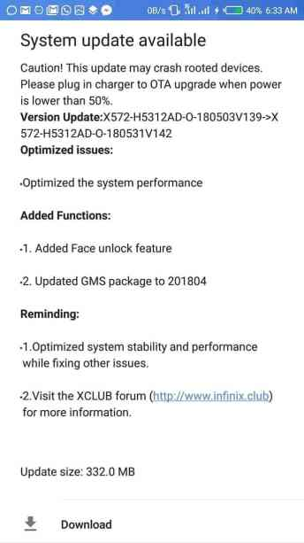 InkedFace unlock feature now in Infinix Note 4 with the new OTA update 2 LI