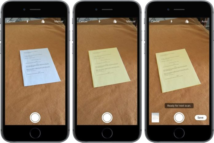 How to iOS 11 Notes scan documents manual shutter mode iPhone screenshot 001