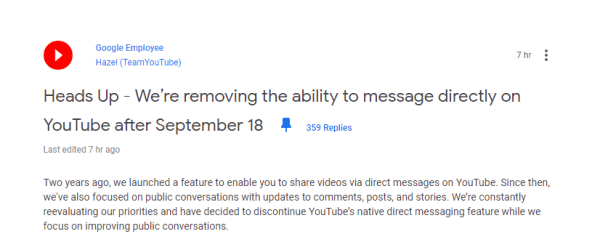 YouTube official message to stop the chat service