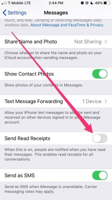 Disable Read Receipts iPhone
