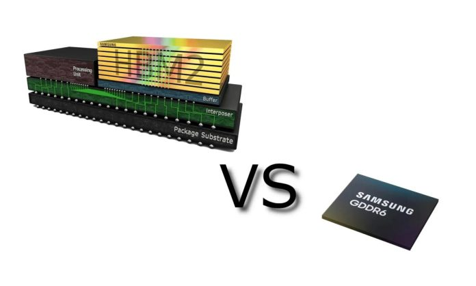 difference between GDDR6 and HBM2 memory scaled