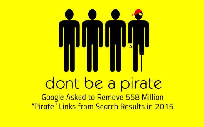 Google Asked to Remove 558 Million Pirate Links from Search Results in 2015