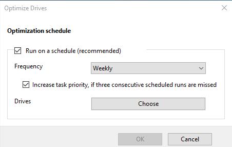 Schedule Disk Defragment in Windows 10