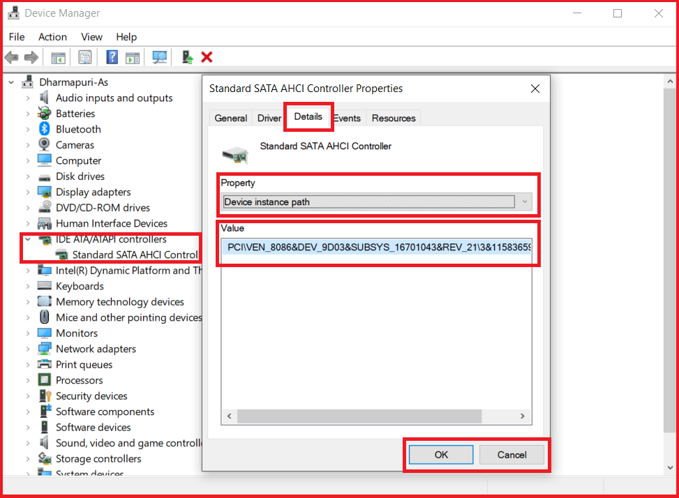 SATA AHCI Controller in device manager