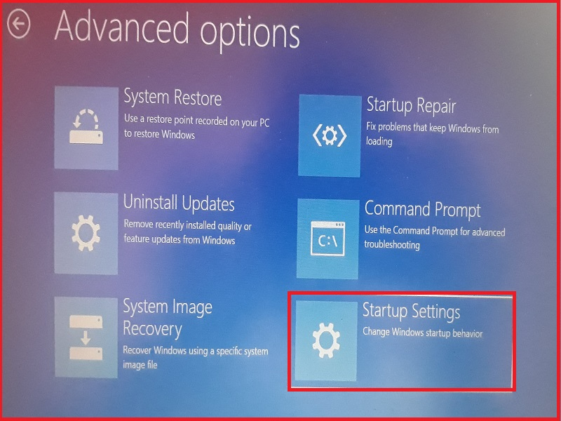Windows 10 start up Advanced Options