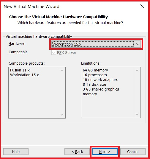 hoose the virtual machine hardware capability