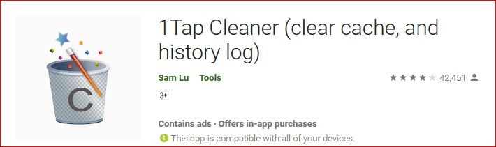 1Tap cleaner clear cache and history log on android
