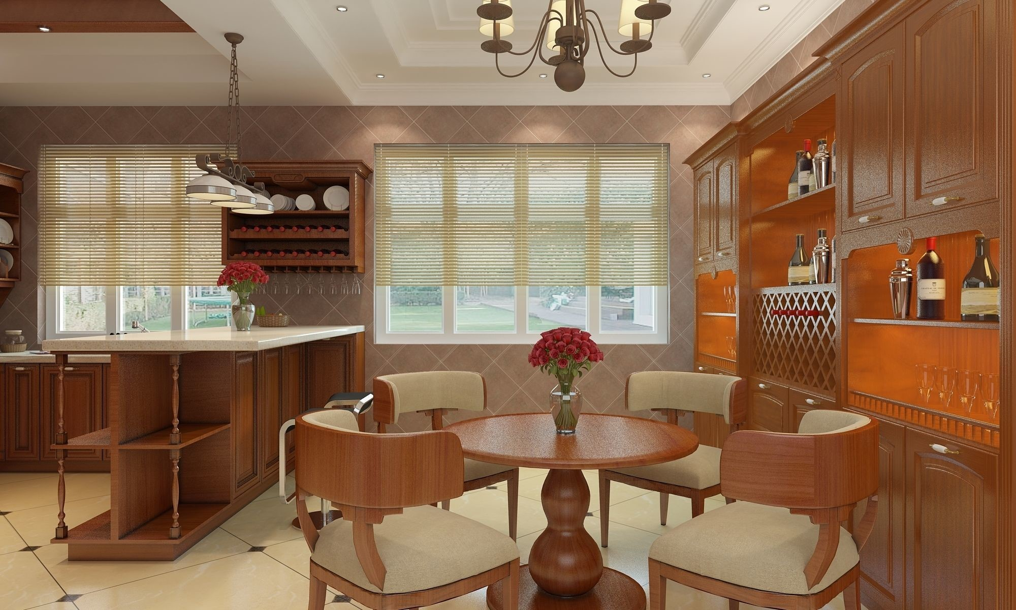 3D visualization of detailed interior created in 3ds max 2012, rendered by Vray. The scene is as shown, includes all lights, cameras, and settings and is ready to render. All materials and textures are included with the 3D visualization.