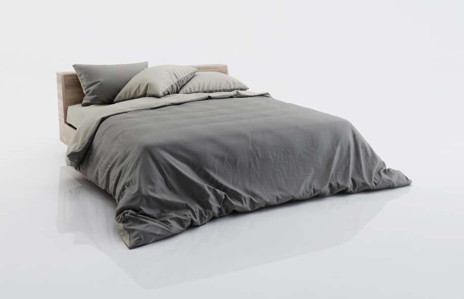 High detail 3D model of a bed showing linen with all shaders and textures.