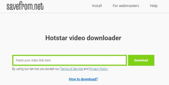 Download From Hotstar