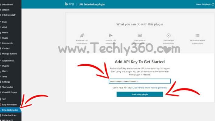 Paste API in Bing URL Submissions Plugin