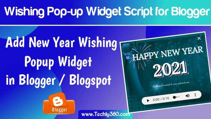 Happy New Year Wishing Popup Widget Script for Blogger