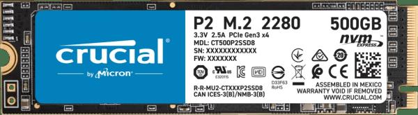 Crucial P2 500GB PCIe M.2 2280 SSD