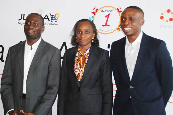 Jumia co-founders with Mrs. Omobola Johnson, Nigeria's Communication Technology Minister