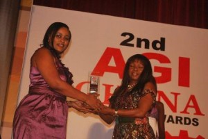 Miss Efua Falconer, MTN's Corporate Communications Manager receiving the award on behalf of MTN