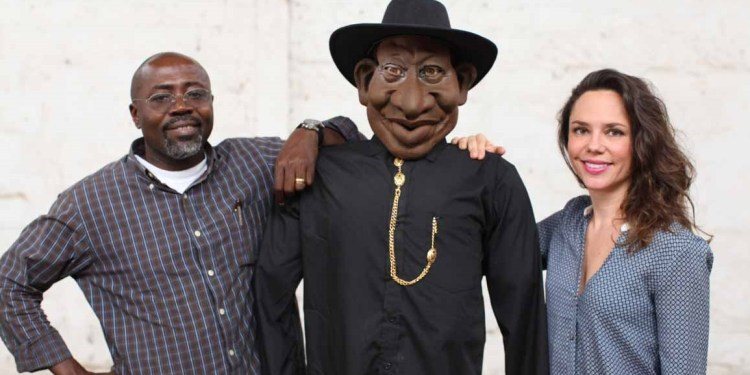 Executive Producers Godfrey Mwampembwa aka Gado, a Goodluck Jonathan puppet and Marie Lora-Mungai